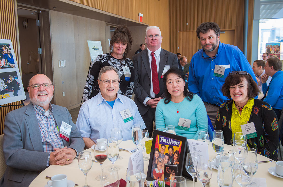 Standing (l-r): QCC Board members Jo-Ann Lenzi and Stephen Holmberg, and Philip Erickson. Seated (l-r): QCC Board member Joseph Collins, George Petrowsky, Zeli Shen, and Kathleen Caruso.