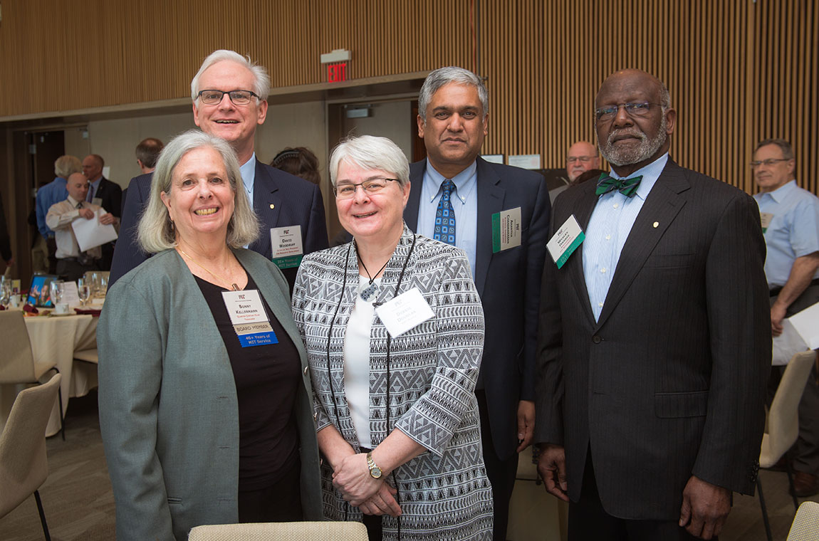 In back (l-r): David Woodruff, Anantha Chandrakasan, and Wesley Harris. In front (l-r): QCC Treasurer Bonny Kellermann and MIT Museum Director of Collections Debbie Douglas