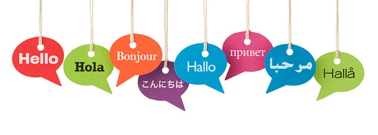 """Image of """"Hello"""" signs in various langauges"""