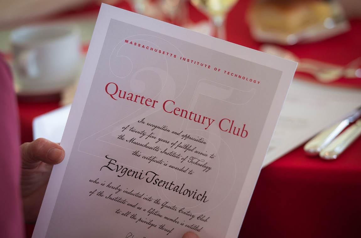 Photo of Quarter Century Club recognition certificate