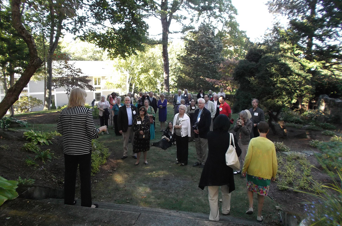 Photo: Diane leads a tour of the Endicott House grounds